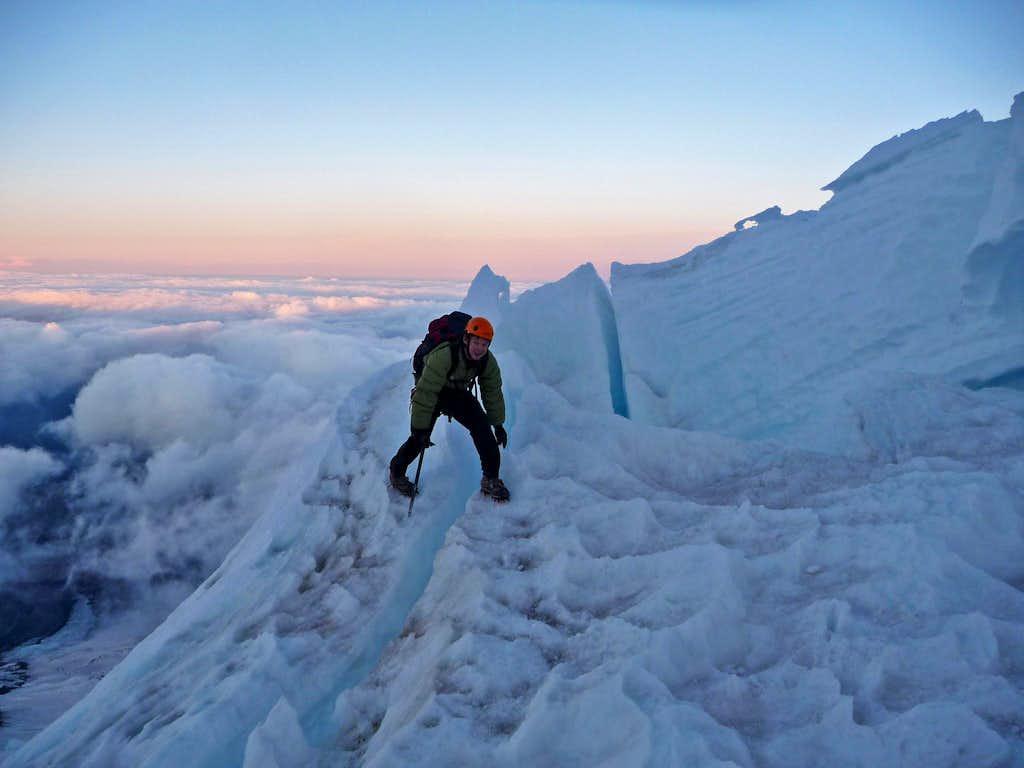 Crossing a Crevasse on Mount Rainier