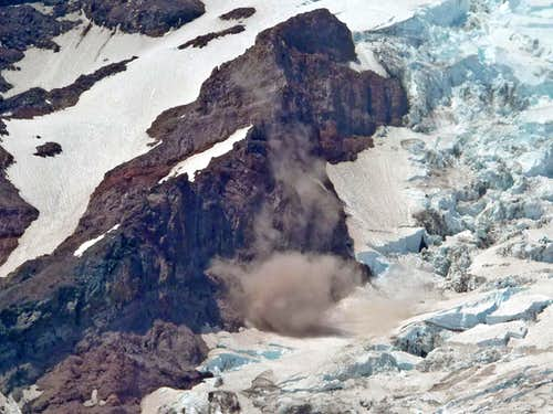 Rocks Falling onto the Nisqually Glacier
