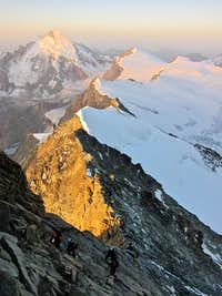 Morning light hits the Dent d\'Herens