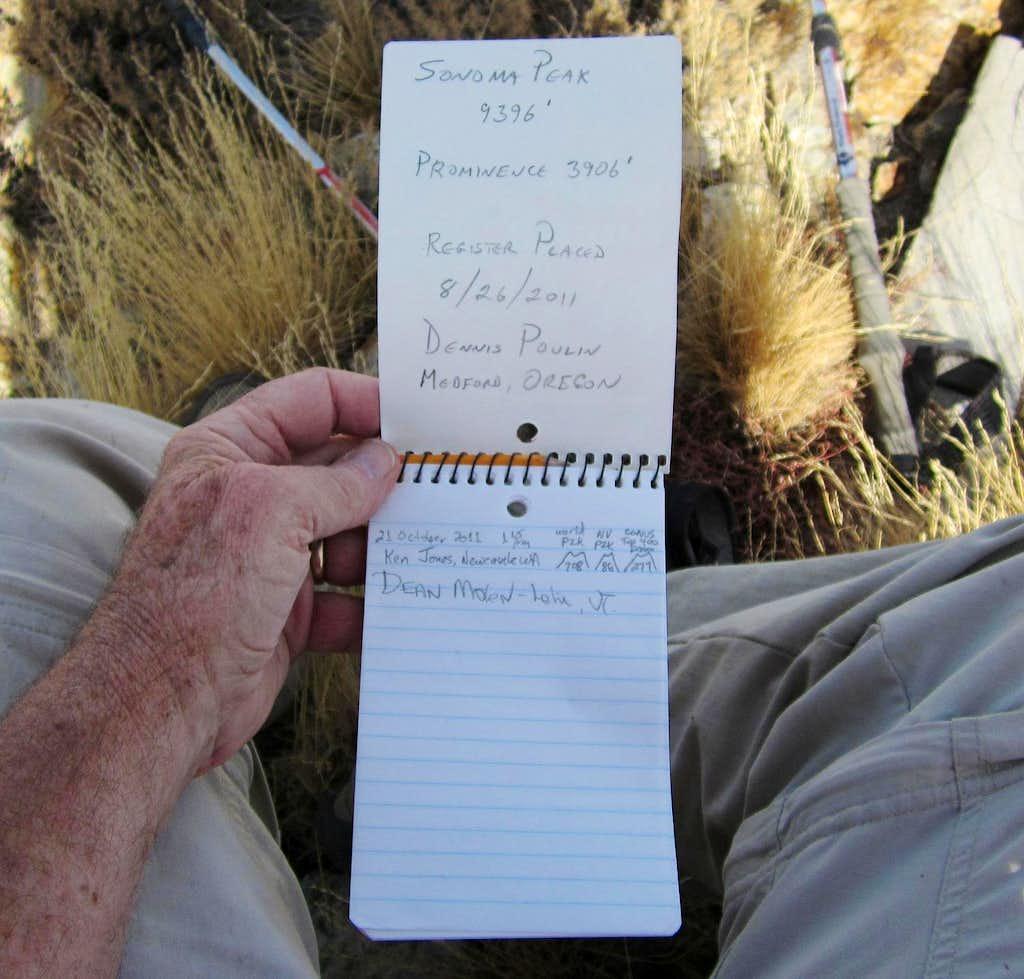 Sonoma Peak (NV) register