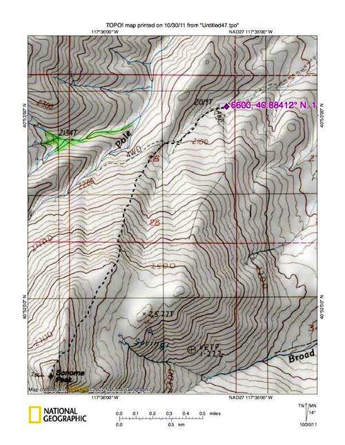 Sonoma Peak (NV) route map