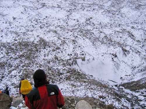 Trekker on Hisper Glacier