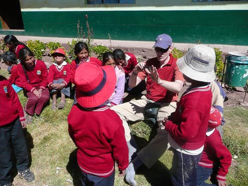 Playing with local kids