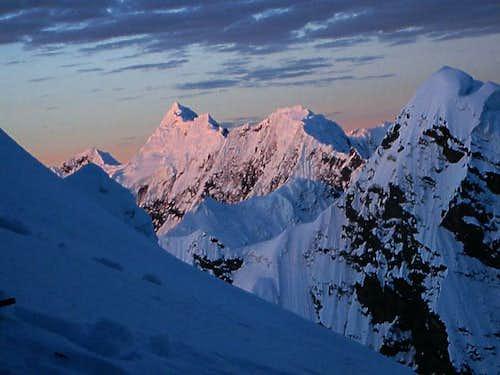 Alpenglow in the Cordillera Vilcanota