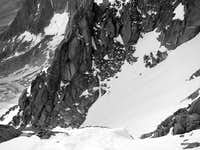 Looking down first couloir on the Mallory