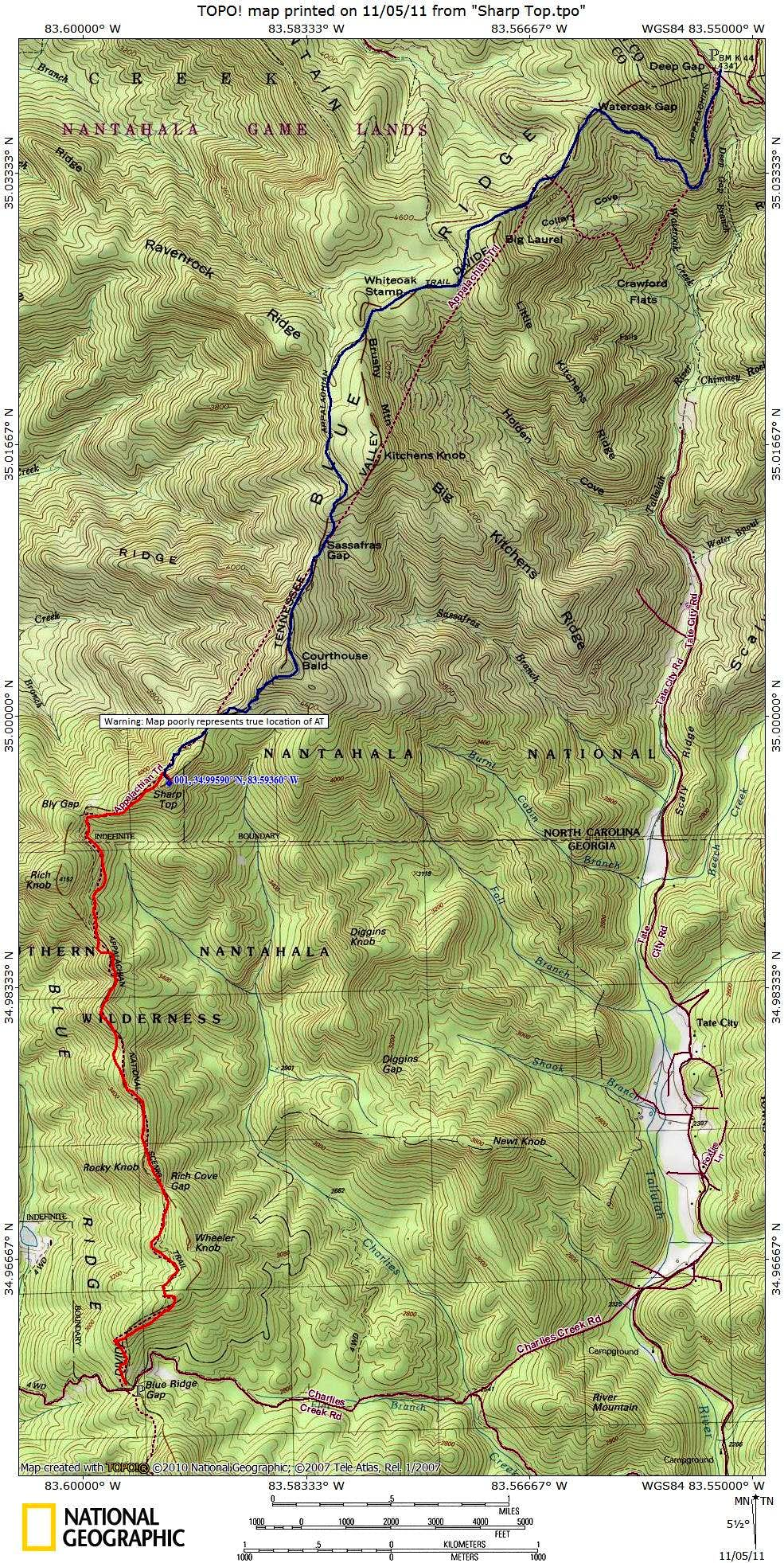 Sharp Top Getting There Map