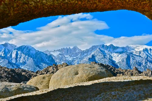 The Sierras through a natural window