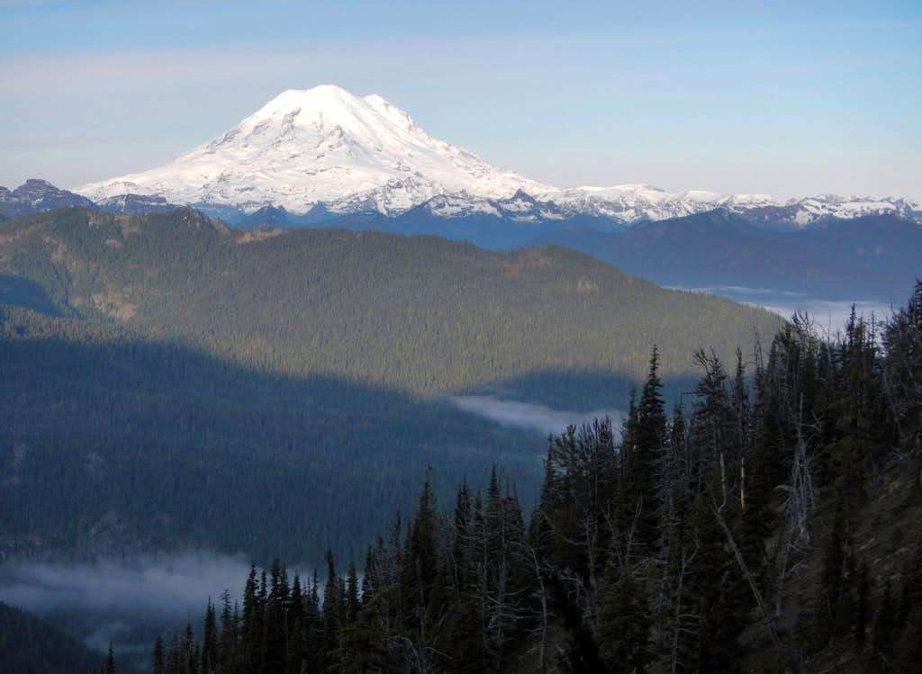 Rainier Above Misty Valleys