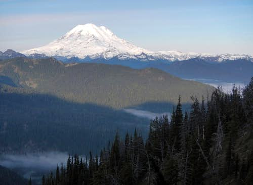 Rainier Above Misty Valleys