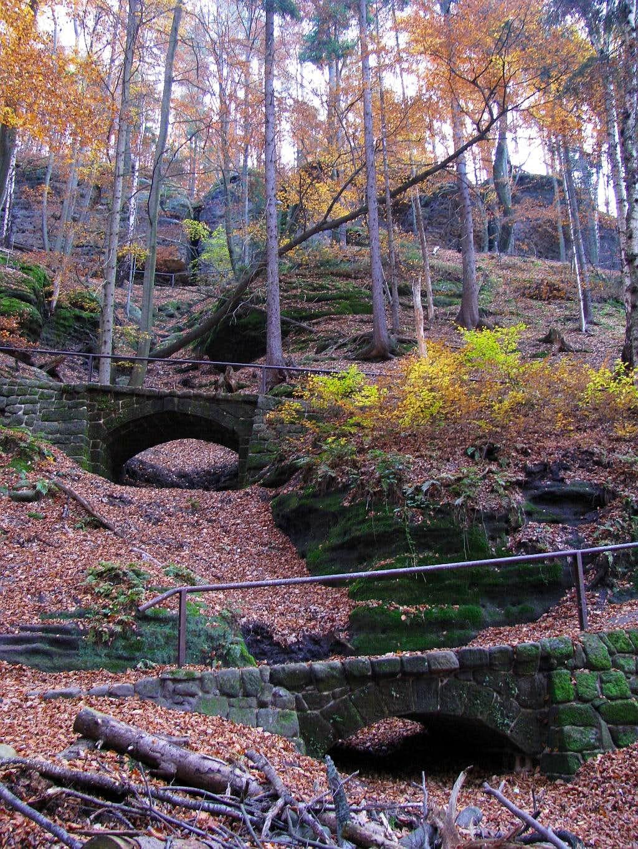 Stone bridges on path.