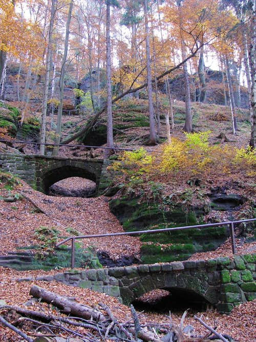 Stone bridges on path.
