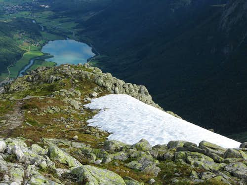 A small lake seen from Eggjenibba summit ridge