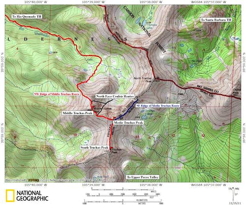 Middle and Medio Truchas Peaks: Route Map