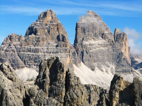 Lavaredo South Faces seen from Pala di Punta Ellie