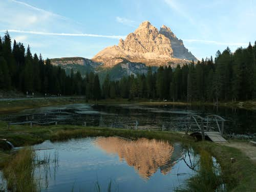 Sunset on Tre Cime di Lavaredo South faces from Antorno Lake
