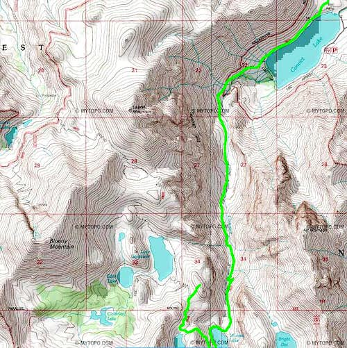 Route map up Peak 3,244m