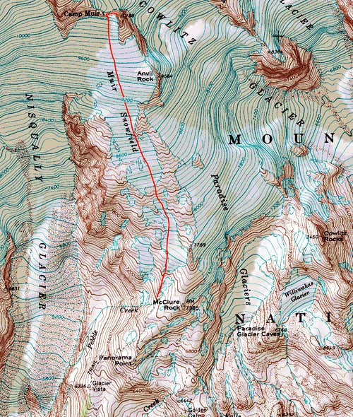 Muir Peak Topographic Map