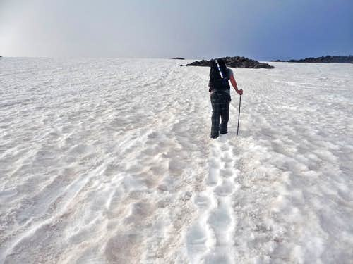 Hiking up the Muir Snowfield