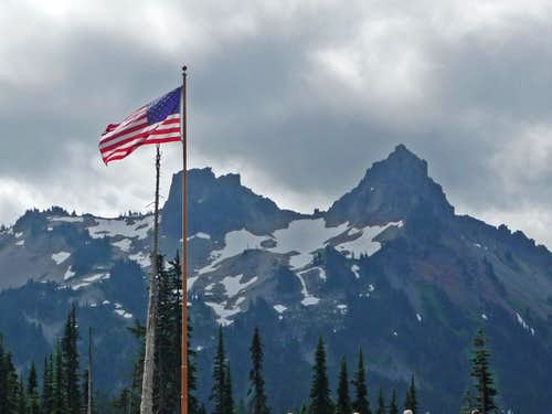 Lane Peak with an American Flag