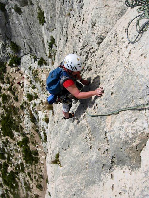 Climbing on Aiguille de Sugiton
