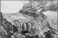 Burning fortress at Magdala