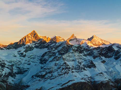 Ober Gabelhorn, Wellenkuppe, Zinalrothorn and Weisshorn at sunset.