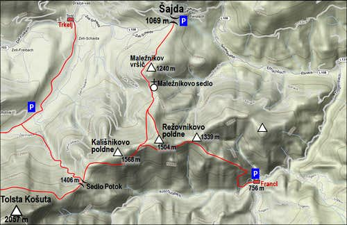 The map of Kalisnikovo poldne