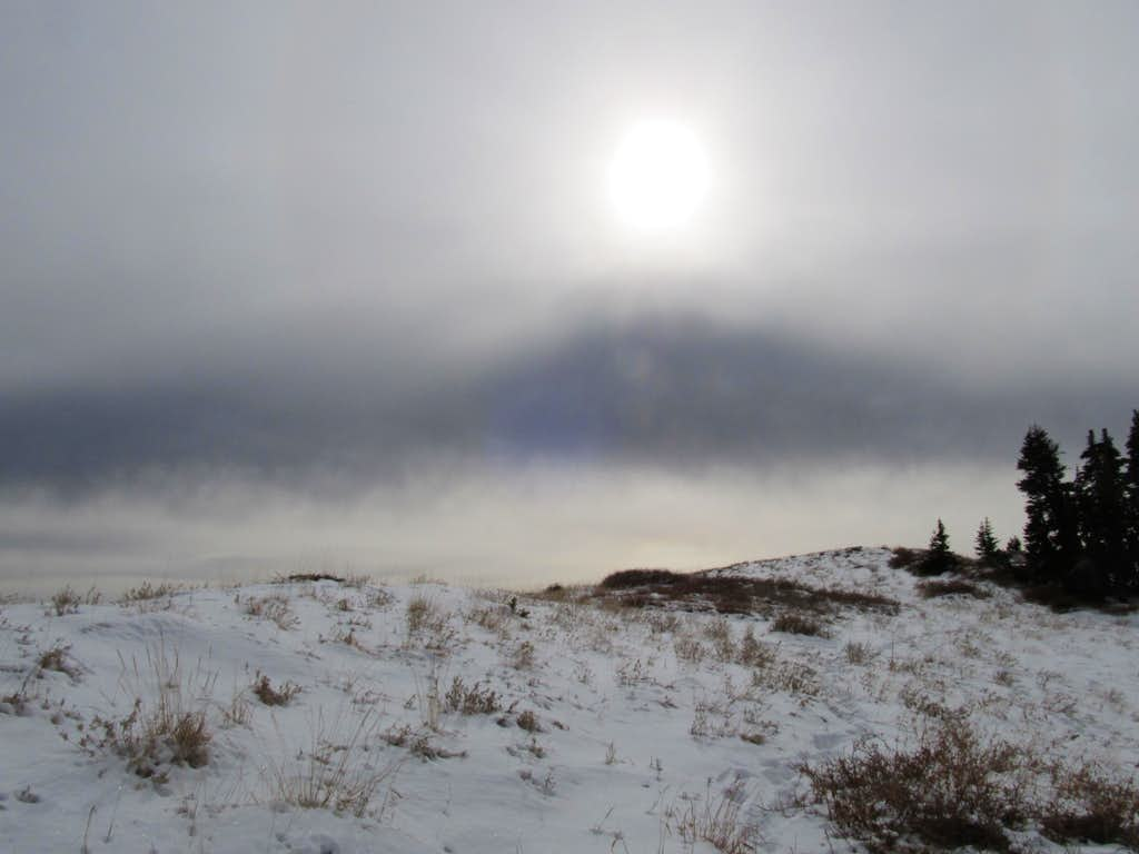 Snow and hazy sun
