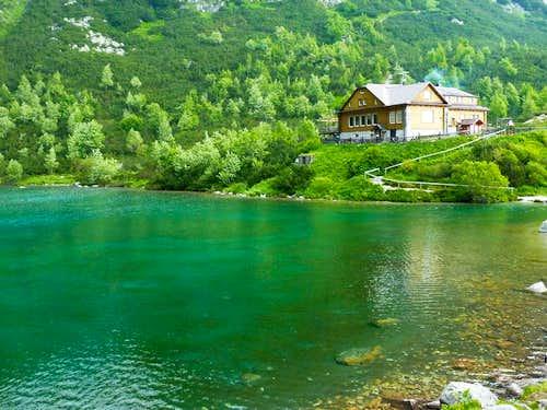 Chata Pri Zelenom Pleso from the opposite lake shore