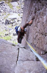 Pitch 2, the crux corner....