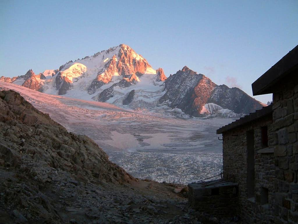 Aiguille du Chardonnet at sunset from Albert Ier Hut