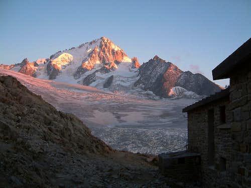 Aiguille du Chardonnet at sunset from Albert Ier Hut