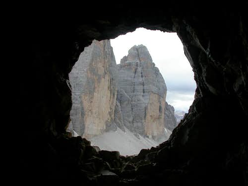 Tre Cime Lavaredo from the WWI trench of Monte Paterno
