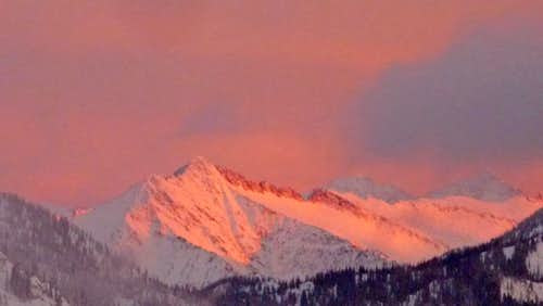 Alpenglow on Whittier Peak