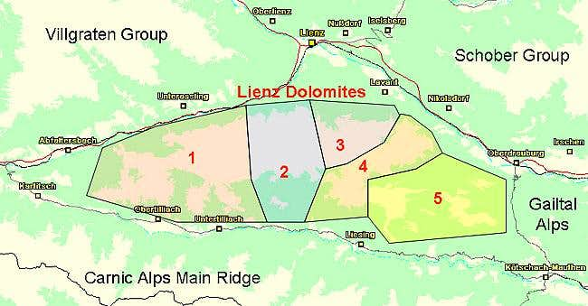 Map of the Lienz Dolomites...