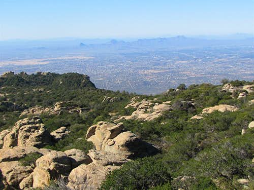 The city of Tucson from the summit of Tanque Verde Peak