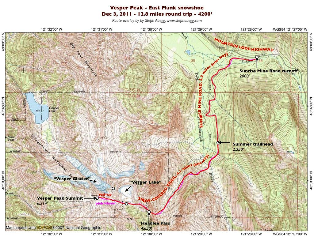 Vesper Peak, East Flank Overlay
