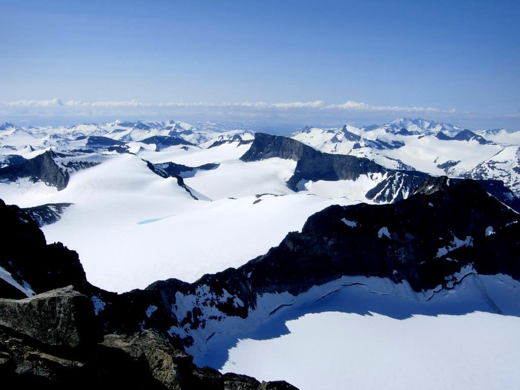 From the summit of Galdhøpiggen view towards South