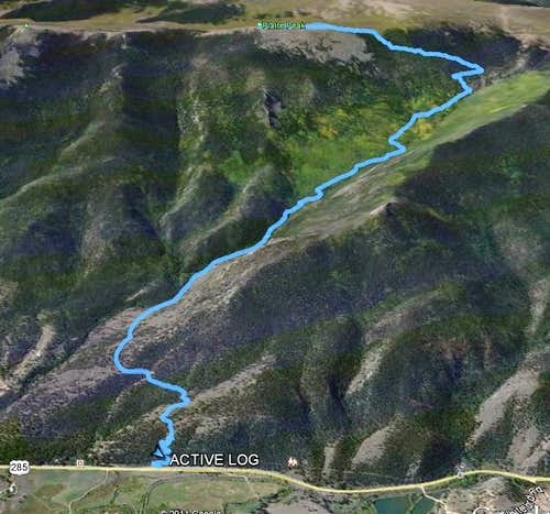 A 3D view of the Route up to Platte Peak