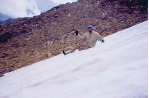 Sliding down glacier on...