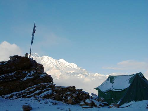 Annapurna Group - Pisang Peak Base Camp after a night snowfall