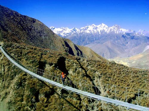 Annapurna trail - An hanging bridge on Kali Gandaki river