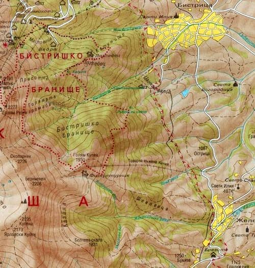 Map of Vitosha Mountain (Part...