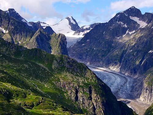 Oberaarhorn and Fiescher Gletscher