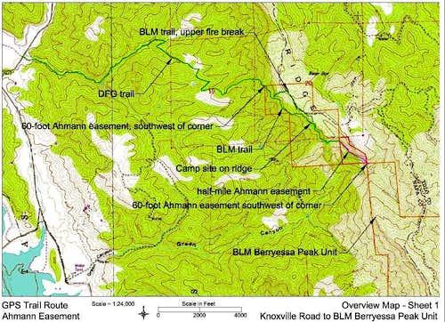 Berryessa Peak Trail Topo