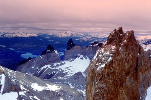 Cuernos del Paine and Torre Sur seen from Torre Central