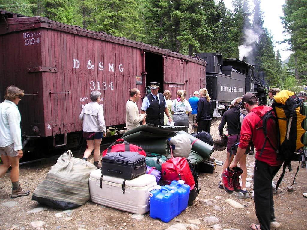 Loading-up on the train at Needleton