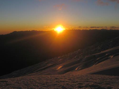 Sunset from Campo Uno on Huascaran
