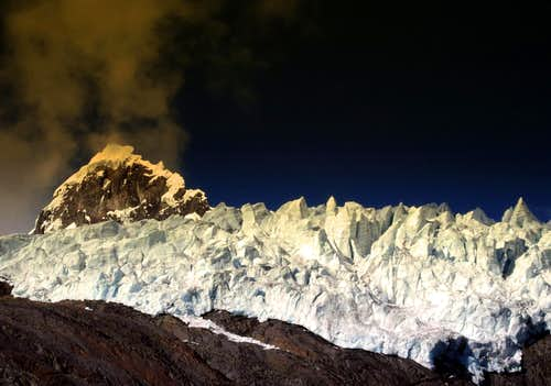 Sunset on Nevado Cayesh West face