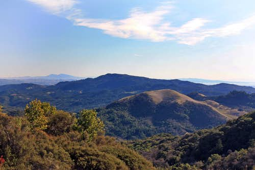 Bald Mtn., 2,275\', Mt. Veeder, 2,667\' and distant Mt. Diablo, 3,849\'